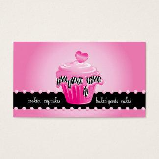 Coração do cupcake do rosa da zebra do cartão de