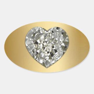 Coração do diamante em selos e em etiquetas do adesivo oval