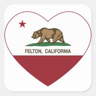 coração do felton da bandeira de Califórnia Adesivo Quadrado