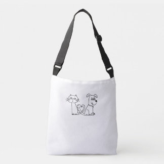Coração do gato e do cão bolsas carteiro