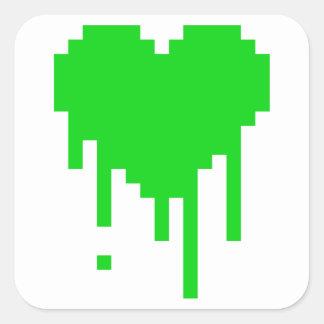 Coração do gotejamento adesivo quadrado