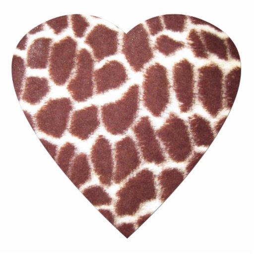 Coração do impressão do girafa fotoesculturas