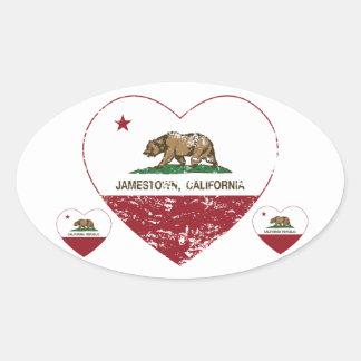 coração do jamestown da bandeira de Califórnia Adesivo Oval