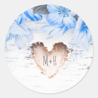 Coração do latido de vidoeiro e casamento rústico adesivo
