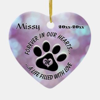 Coração do memorial do animal de estimação do ornamento de cerâmica coração