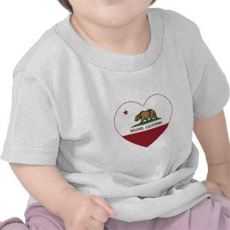 coração do mojave da bandeira de Califórnia Camisetas