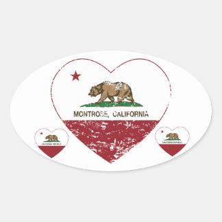 coração do montrose da bandeira de Califórnia Adesivo Oval