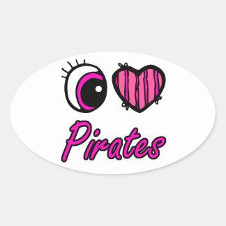 Coração do olho de Emo eu amo piratas Adesivo Oval