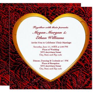 Coração do ouro & cartão vermelho do convite do