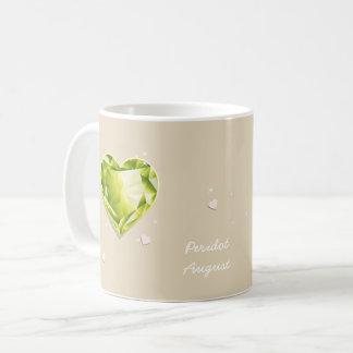 Coração do Peridot da verde azeitona de Caneca De Café