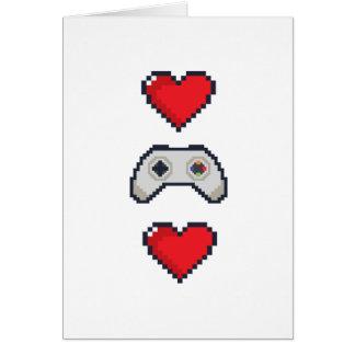 Coração do pixel & controlador - cartão do dia dos