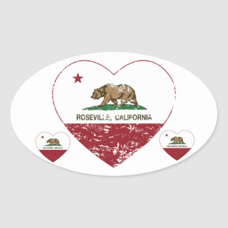 coração do roseville da bandeira de Califórnia Adesivo Oval