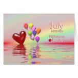 Coração do rubi do aniversário de julho cartao