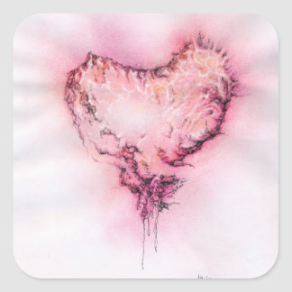 Coração do Scribble - etiqueta quadrada Adesivo Quadrado