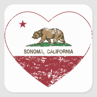 coração do sonoma da bandeira de Califórnia Adesivo Quadrado
