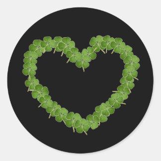 Coração do trevo do trevo de quatro folhas adesivo