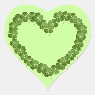 Coração do trevo do trevo de quatro folhas adesivo coração