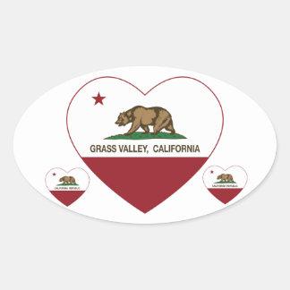 coração do vale da grama da bandeira de Califórnia Adesivo Oval
