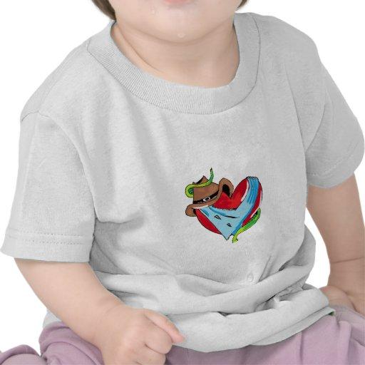 Coração do vaqueiro tshirts