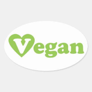 Coração do verde do texto do Vegan Adesivo Oval