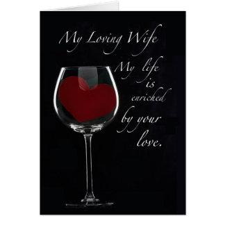 Coração do vidro de vinho do aniversário de 4091 e cartoes