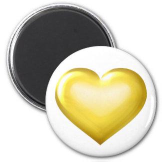 Coração do vidro do ouro ímã redondo 5.08cm