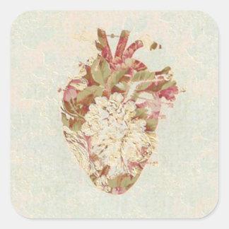 Coração do vintage adesivo quadrado