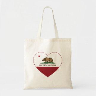 coração do vista do isla da bandeira de Califórnia Bolsas De Lona