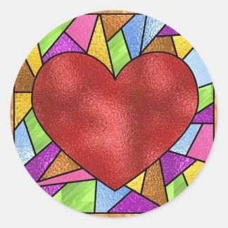 Coração do vitral adesivos redondos