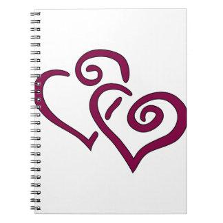 Coração dobro marrom cadernos espiral