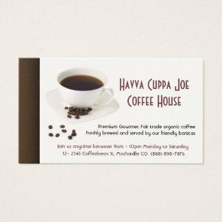 Coração dos feijões da chávena de café e de café cartão de visitas