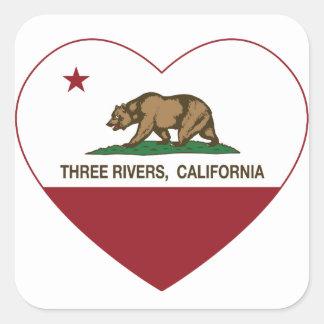 coração dos rios da bandeira três de Califórnia Adesivo Quadrado