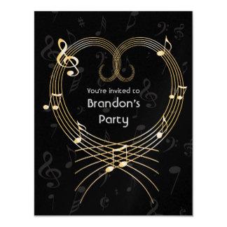 Coração dourado personalizado do amor das notas convite 10.79 x 13.97cm