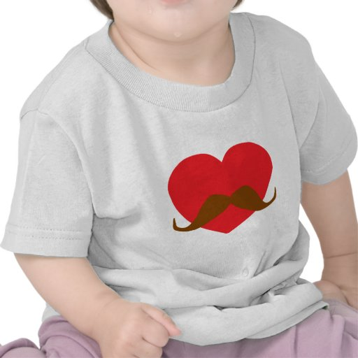 coração e bigode vermelhos tshirts