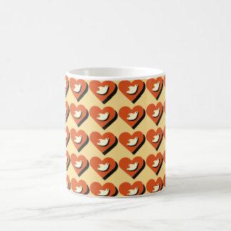 Coração e design telhado caneca da pomba