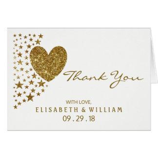 Coração e estrelas do brilho do ouro que Wedding o Cartão De Nota