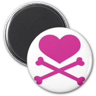 coração e rosa quente dos crossbones ímã redondo 5.08cm