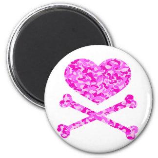 coração e rosa urbano do camo dos ossos da cruz ímã redondo 5.08cm
