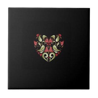 Coração-Em-Coração-Em-Preto-Teste padrão Azulejos De Cerâmica