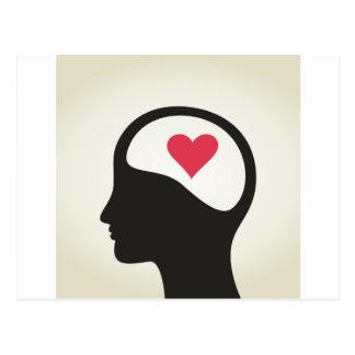 Coração em uma cabeça cartão postal