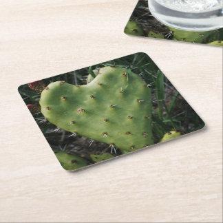 Coração espinhoso porta-copo de papel quadrado