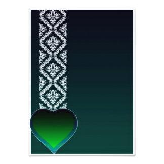 Coração esverdeado bonito e damasco branco puro convite personalizados