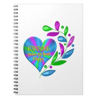 Coração feliz do karaoke caderno