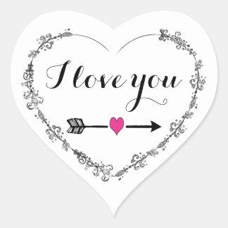 Coração filigrana com eu te amo etiquetas