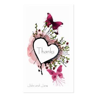 Coração, flores e cartões de agradecimentos das cartão de visita