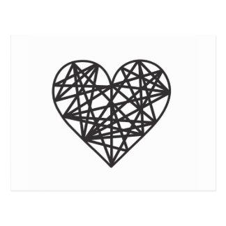 Coração geométrico cartão postal