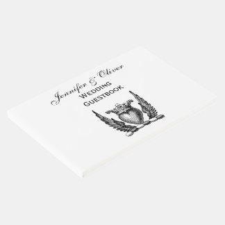 Coração heráldico com crista da brasão das asas livro de visitas