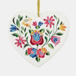 Coração húngaro da flor do OPUS Ornamento De Cerâmica Coração