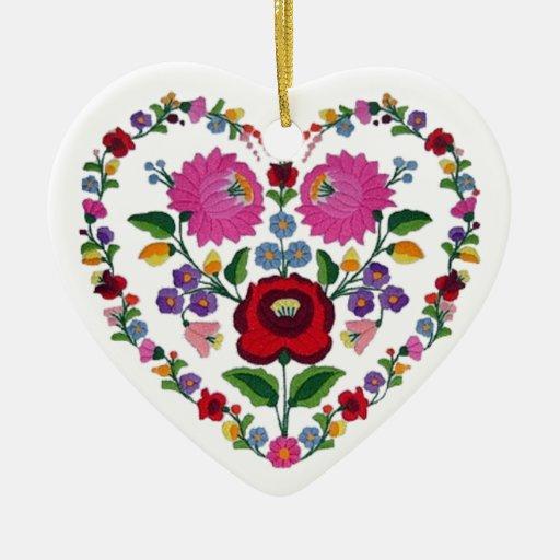 Coração húngaro VARIÁVEL TBA do OPUS Ornamento De Cerâmica Coração