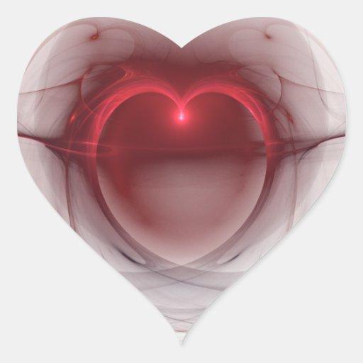 Coração iluminado sobre o fundo branco adesivo coração